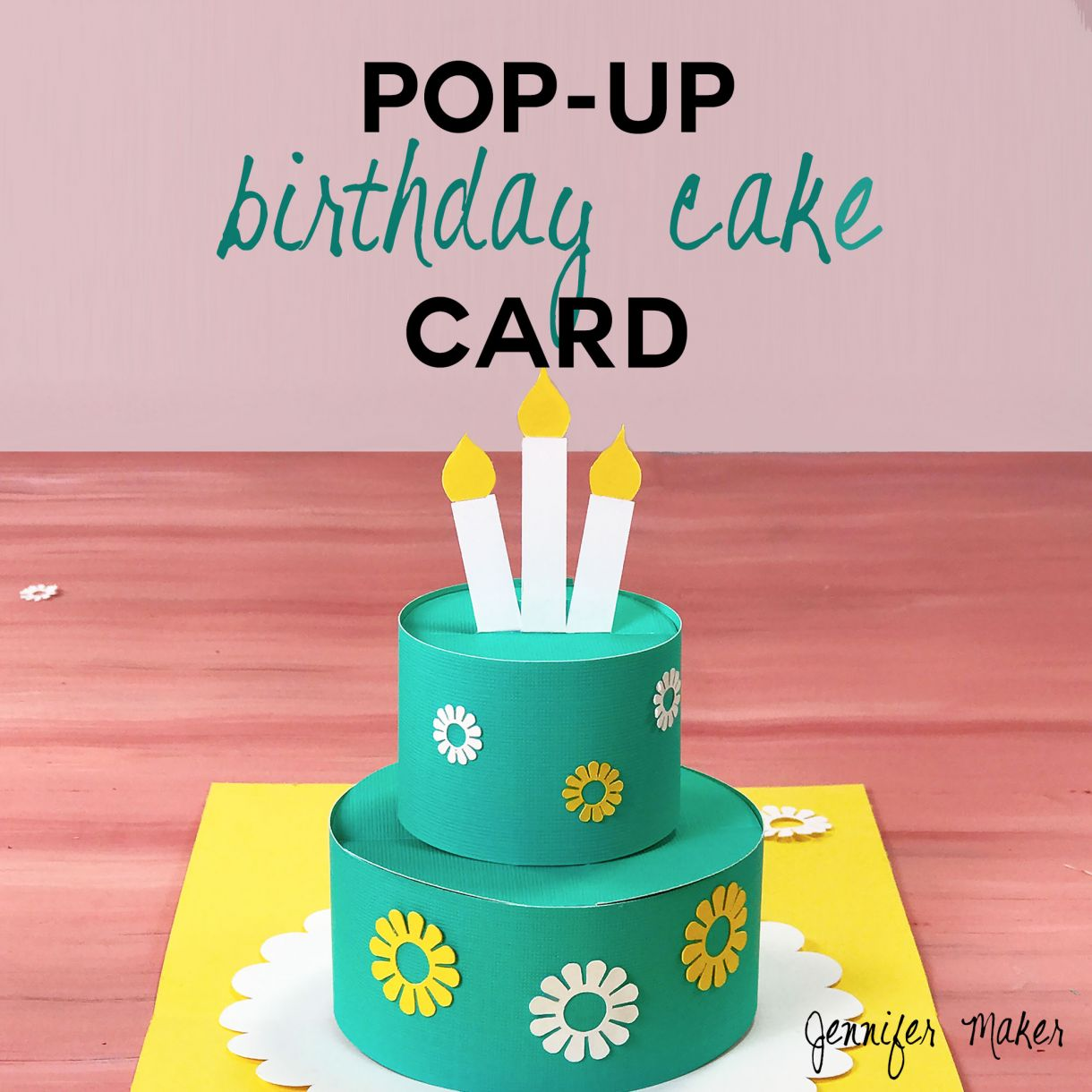 Pop Up Birthday Cake Card Square