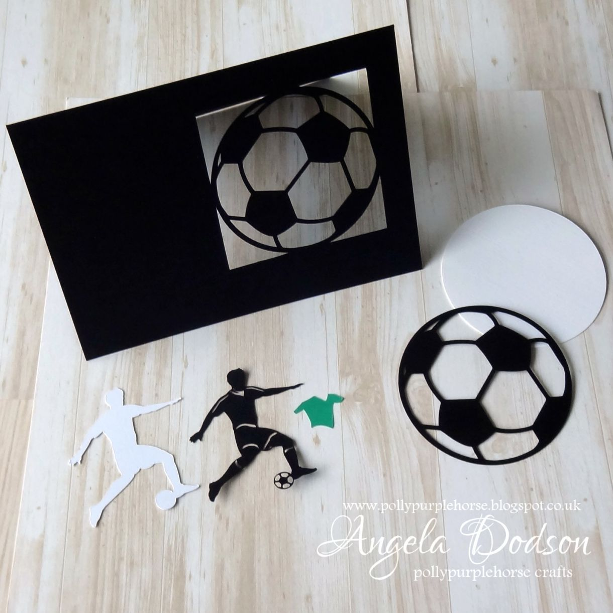 Make a football themed birthday card 5x7 card base with cutout section using pmd plain white card and black card for the football shape pmd smooth black plain white and forest green bookmarktalkfo Gallery