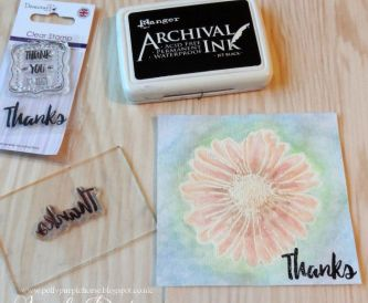 Thanks Card step by step - Derwent Watercolour Pencils