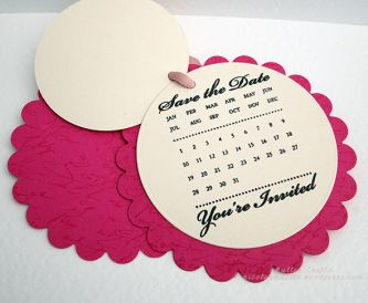 Save The Date Idea using scalloped circle dies tied with ribbon