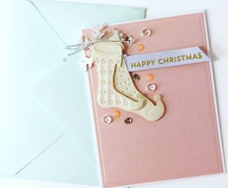 Shimmer Stocking Christmas Card