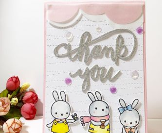 A Pink and Glitter Thank You Card