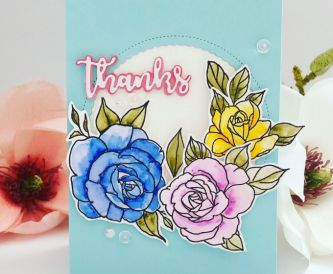 Thanks Embossed Flowers Card