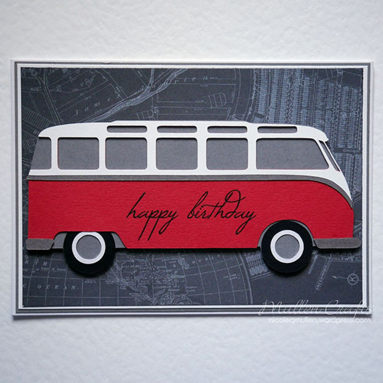 Vw Bus Card Red Nicole