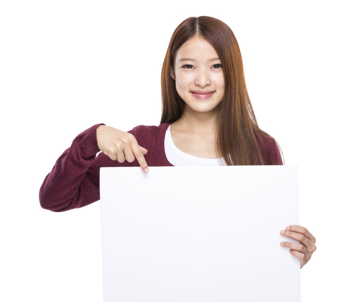 Woman Holding White Card I Stock 75156929 Medium