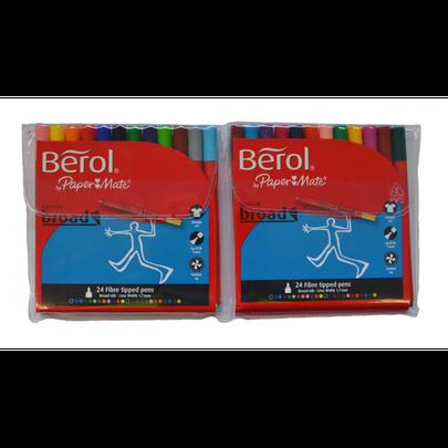 Berol 24 Broad Fibre Tipped Pens