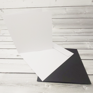 "White and Black 7"" x 7"" Square Card Blanks with White Envelopes"
