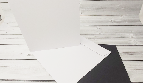 """20 White and Black 7"""" x 7"""" Square Card Blanks with White Envelopes"""