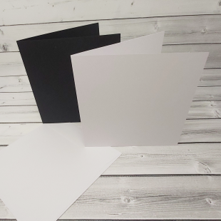 "White and Black 8"" x 8"" Square Card Blanks with White Envelopes"