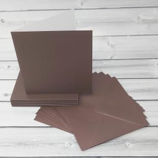 Bon Bon Brown 148mm Square Card Blanks & Envelopes - Pack of 10
