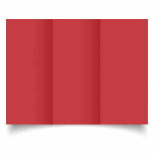 Christmas Red Card Blanks Double Sided 240gsm-DL-Trifold