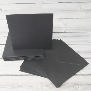 Charcoal 148mm Square Card Blanks & Envelopes - Pack of 10