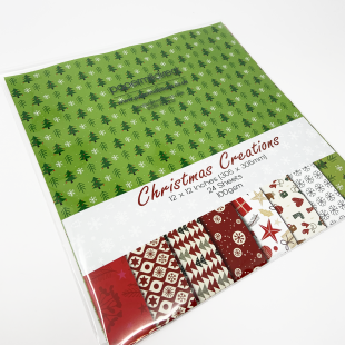 """Christmas Patterned Paper - 12"""" x 12"""" (304 x 304mm) - 24 Sheets"""