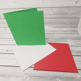"Red and Green 8"" x 8"" Square Card Blanks with White Envelopes"