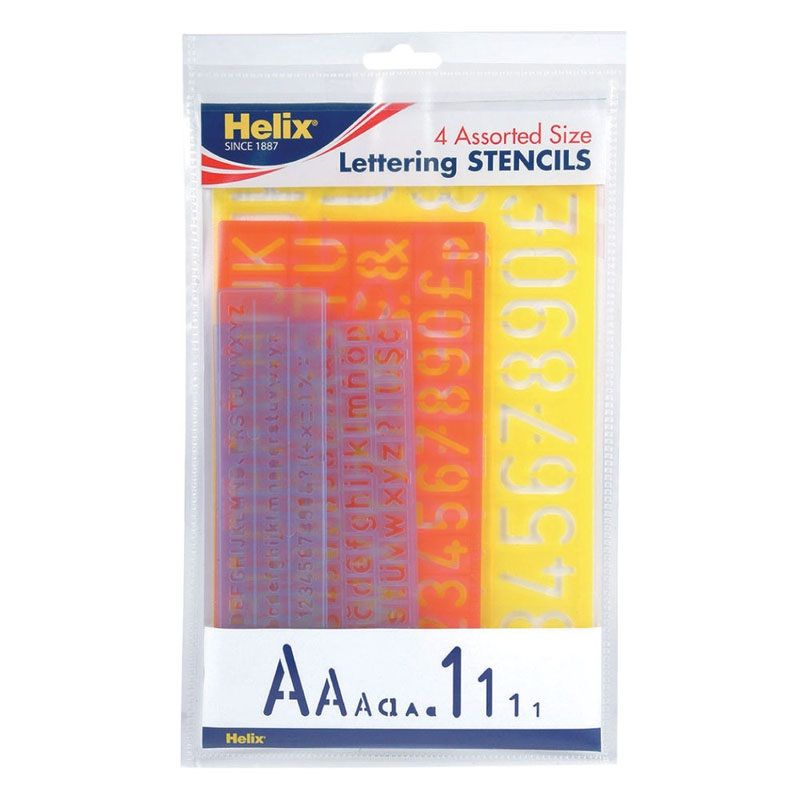 Helix Lettering Stencil Set Of 4 Assorted Sizes