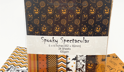 "Halloween Patterned Paper - 6"" x 6"" (152 x 152mm) - 24 Sheets"