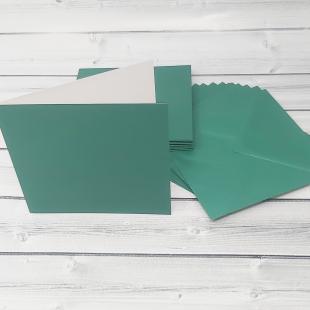 Xmas Green 148mm Square Card Blanks & Envelopes - Pack of 10