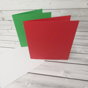 "Red and Green 7"" x 7"" Square Card Blanks with White Envelopes"
