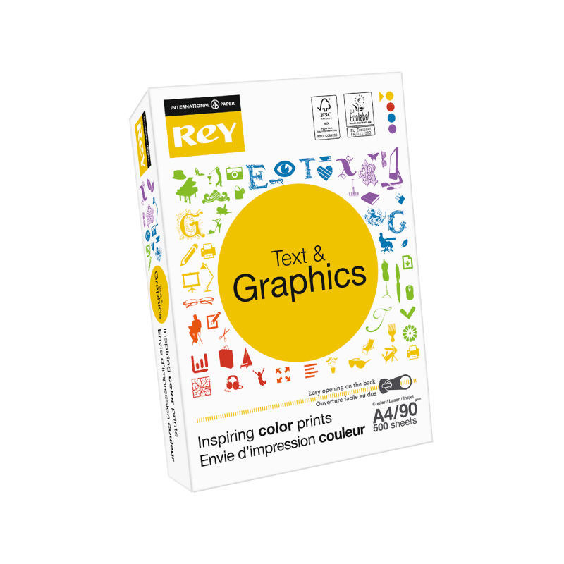Rey Text Graphics A4 90G 2018 Fsc Tearstrip 1