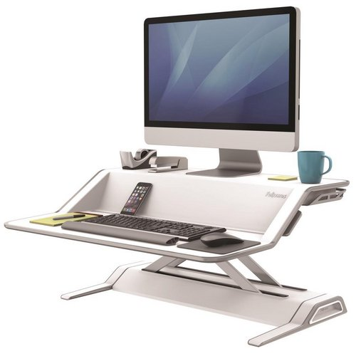 Stands Fellowes Lotus Sit-Stand Workstation Lift Technology White Ref 9901
