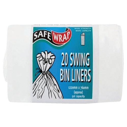 Safewrap Swing Bin Liners 50 Litre Capacity 20 Sacks per Roll 1220x762mm White Ref RY00441 4 Rolls