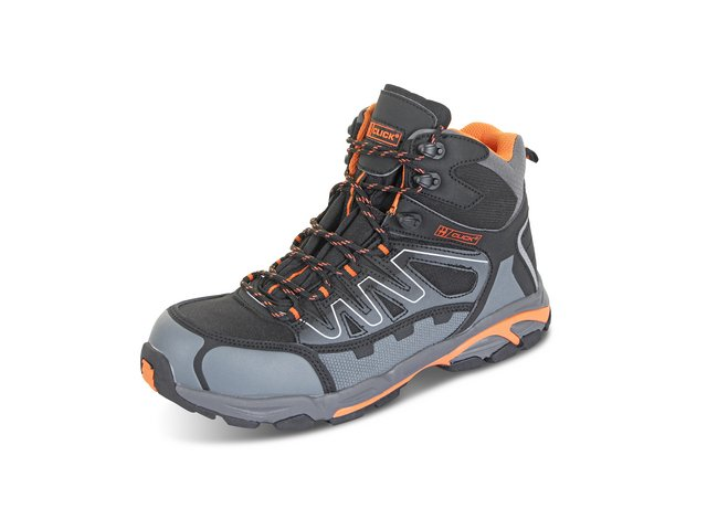 Click Footwear Leather S3 Hiker Boot Composite Toe Size 11 Black/Grey Ref CF3511 *Up to 3 Day Leadtime*