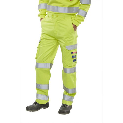 Body Protection Click Arc Flash Trousers Fire Retardant Hi-Vis Yellow/Navy 32-Tall Ref CARC5SY32T *Up to 3 Day Leadtime*