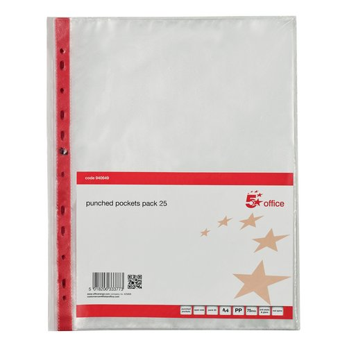 5 Star Office Punched Pocket Polyprop Reinforced Red Strip Top Opening 75 Mic A4 Clear Pack 25