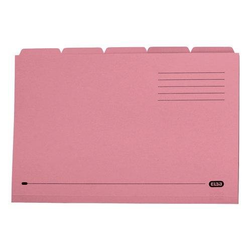 Elba Tabbed Folders Recycled Mediumweight 250gsm Manilla Set of 5 Foolscap Pink Ref 100090236 Pack 20