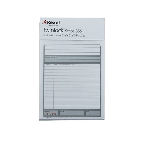 Invoice Twinlock Scribe 855 Counter Sales Receipt Business Form 3-Part 220x140mm Ref 71707 Pack 75
