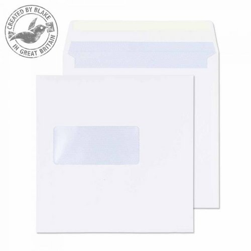 Purely Everyday Square Wallet Gummed Window White 100gsm 155x155 Ref 0155W Pk 500 *10 Day Leadtime*