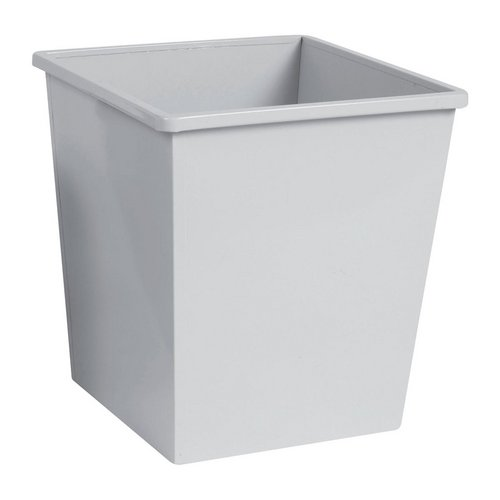 Rubbish Bins 5 Star Facilities Waste Bin Square Metal Scratch Resistant 27 Litre Capacity 325x325x350mm Grey