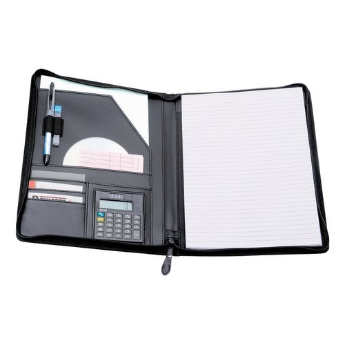 Potfolios 5 Star Elite Zipped Conference Folder with Calculator Leather Look A4 Black