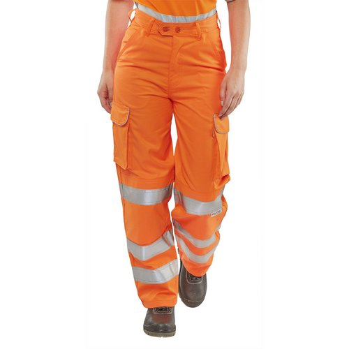 BSeen Rail Spec Trousers Ladies Teflon Hi-Vis Reflective Orange 26 Ref LRST26 *Up to 3 Day Leadtime*