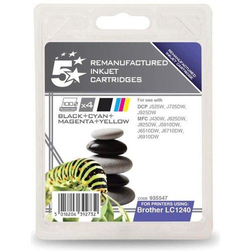 Inkjet Cartridges 5 Star Office Reman Inkjet Cartridges 600pp Black/Cyan/Magenta/Yellow Brother LC1240VALBP Alt Pack 4