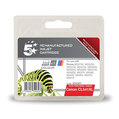 Inkjet Cartridges 5 Star Office Remanufactured Inkjet Cart Page Life 400pp 15ml Tri-Colour Canon CL-541XL Alternative