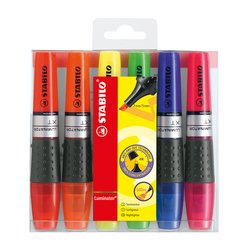 Stabilo Luminator Highlighters Chisel Tip 2-5mm Wallet Assorted Ref 71/6 Pack 6