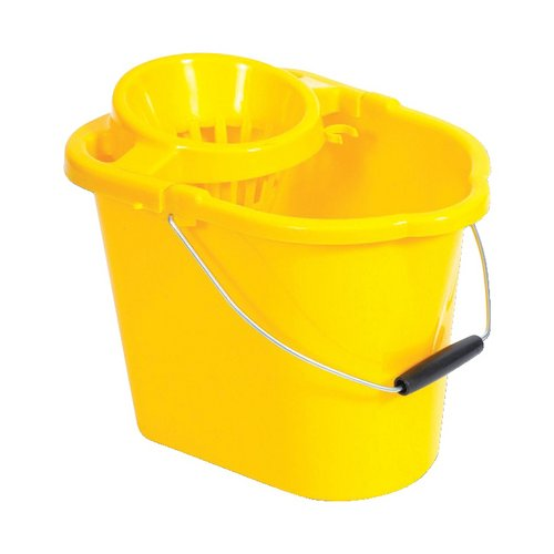 Buckets Oval Mop Bucket 12 Litre Yellow