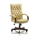 Trexus Chesterfield Executive Chair With Arms Leather Cream Ref EX000005
