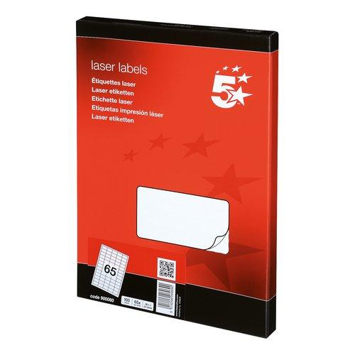 Address 5 Star Office Multipurpose Labels Laser Copier Inkjet 65 per Sheet 38.1x21.2mm White 6500 Labels