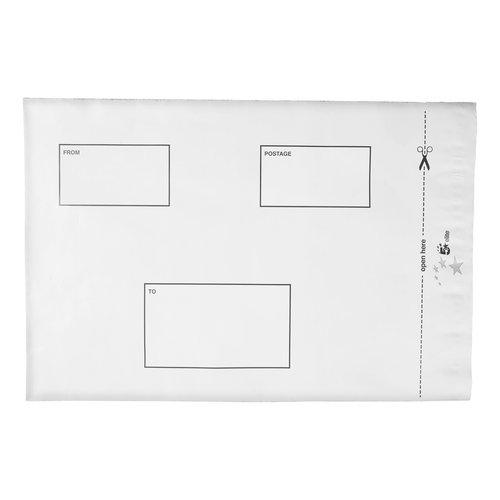 5 Star Elite Envelopes ExtraStrong Waterproof Polythene Peel & Seal Opaque 250x320mm&50mm Flap Pack 100
