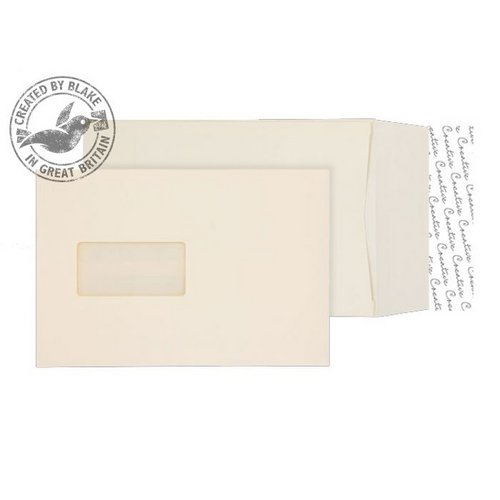 Gusset Envelopes Purely Packaging Envelope P&S 140gsm C5 Window Cream Wove Ref 6401W Pack 125 *10 Day Leadtime*