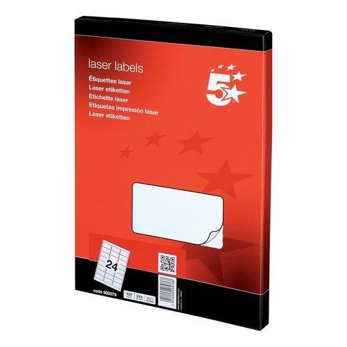 Address 5 Star Office Multipurpose Labels Laser Copier Inkjet 24 per Sheet 64x34mm White 2400 Labels