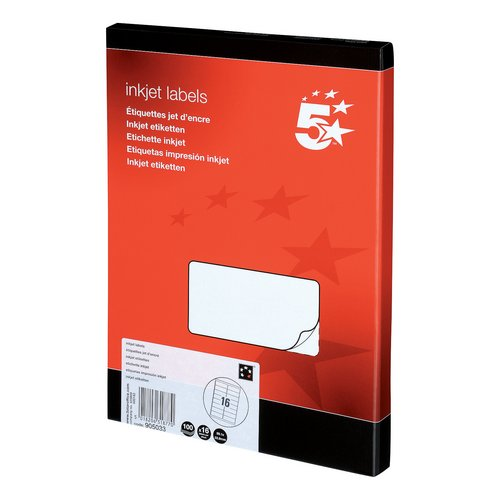 Address 5 Star Office Addressing Labels Inkjet 16 per Sheet 99.1x34mm White 1600 Labels