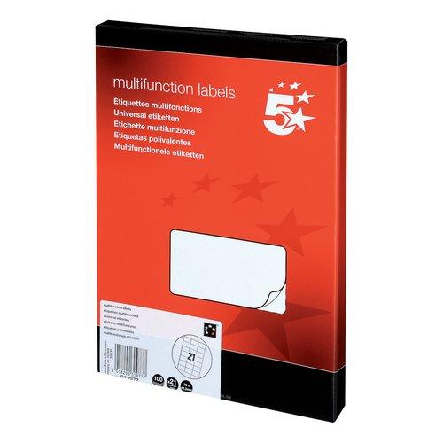 5 Star Office Multipurpose Labels Laser Copier Inkjet 21 per Sheet 70x42.4mm White 2100 Labels
