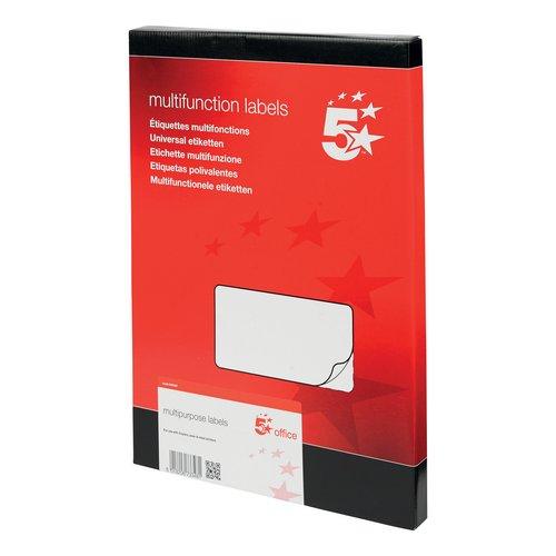 5 Star Office Multipurpose Labels Laser Copier Inkjet 6 per Sheet 99x93mm White 600 Labels