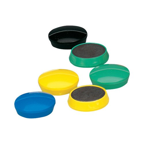 Magnets 5 Star Office Round Plastic Covered Magnets 30mm Assorted Pack 10