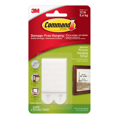 3M Command Picture Hanging Strips Adhesive Medium White Ref 17201 Pack 4