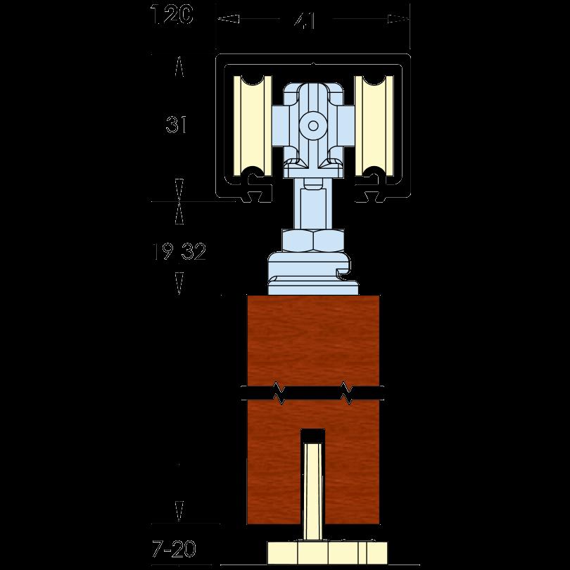 ASEC Single Run Sliding Door Gear