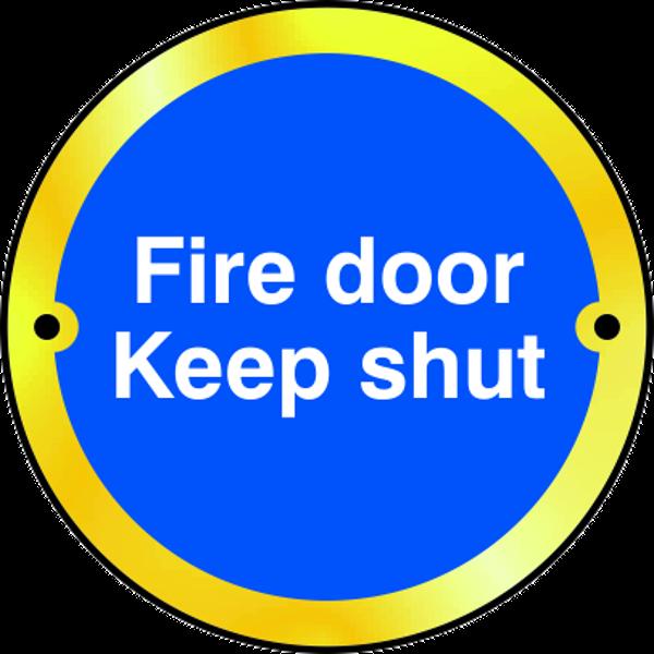 ASEC `Fire door Keep shut` Disc Sign 75mm